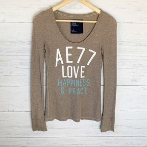 American Eagle Thermal Tee Love Happiness Peace